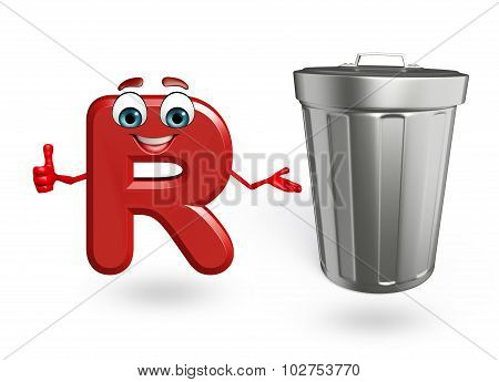 Cartoon Character Of Alphabet R With Dustbin