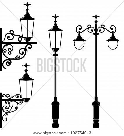 Set of vintage various streetlamp