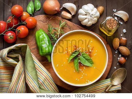 Fresh Pumpkin Soup With And Vegetable