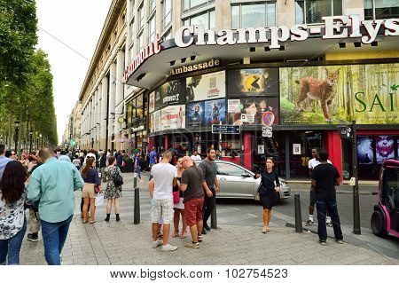 PARIS, FRANCE - AUGUST 09, 2015: Gaumont movie theater. Gaumont Film Company is the first and oldest film company in the world