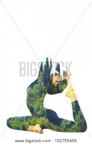 woman in yoga king pigeon position double exposure