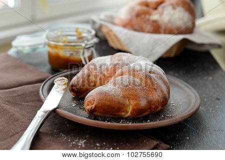 Delicious Breakfast With Fresh Croissants And Jam