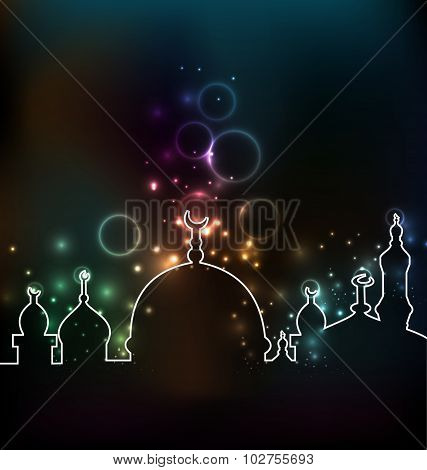 Cute glowing background with mosque
