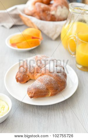 Delicious Breakfast With Fresh Croissants And Orange Juice
