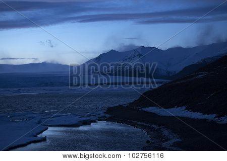 Snowy Volcano Landscape At Glacier Lagoon Jokulsarlon In Iceland