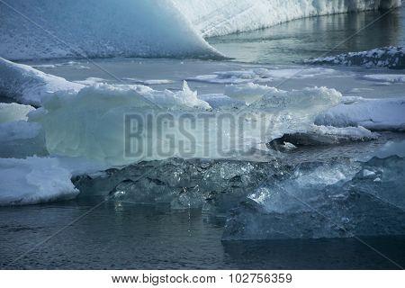 Ice Blocks Melting At Glacier Lagoon Jokulsarlon, Iceland