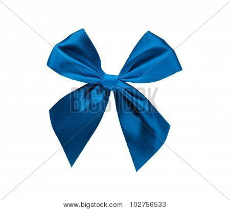 Blue ribbon bow isolated