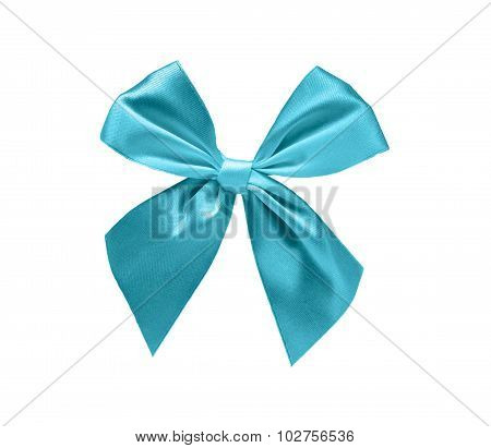 Light blue ribbon bow isolated