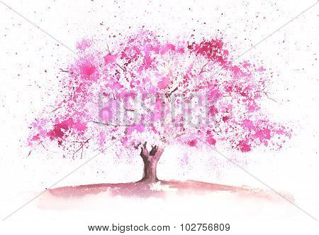 Watercolor Spring Tree