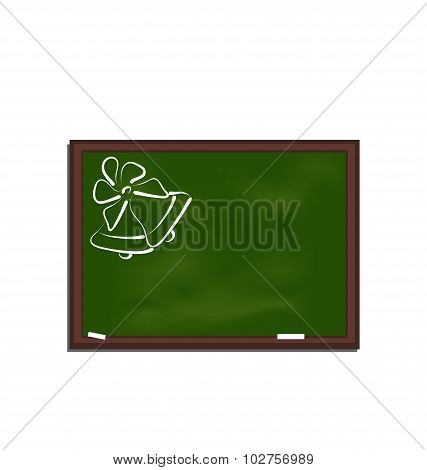 School chalkboard with bells isolated on white background
