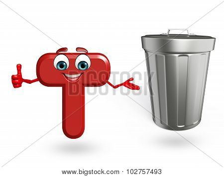 Cartoon Character Of Alphabet T With Dustbin