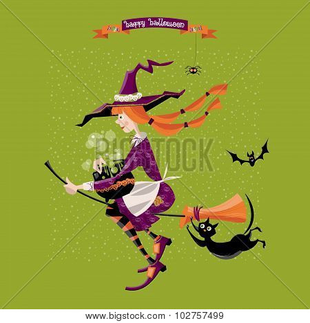 Little Witch On A Broom With A Cauldron And A Cat. Happy Halloween.