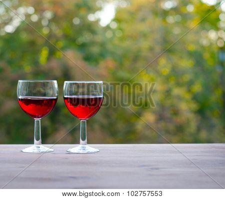 Still life concept. Two wine glasses.