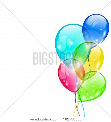 Flying colorful balloons isolated on white background