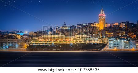 Cityscape with Galata Tower, Golden Horn and ferry