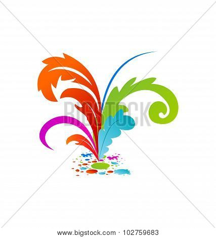 Group colouful artistic feathers with ink