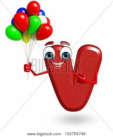 Cartoon Character Of Alphabet V With Balloons