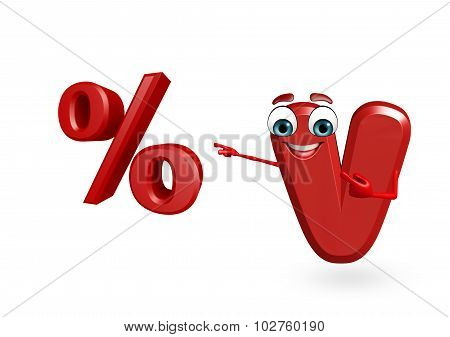 Cartoon Character Of Alphabet B With Percentage Sign