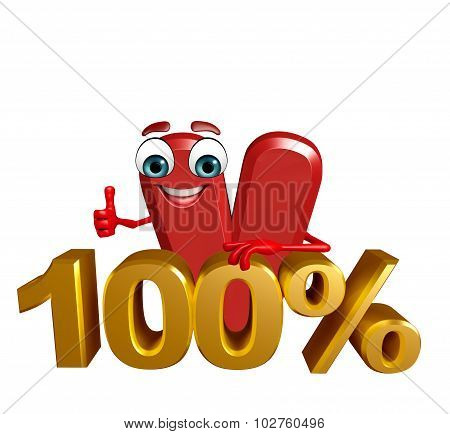 Cartoon Character Of Alphabet V With Percentage Sign