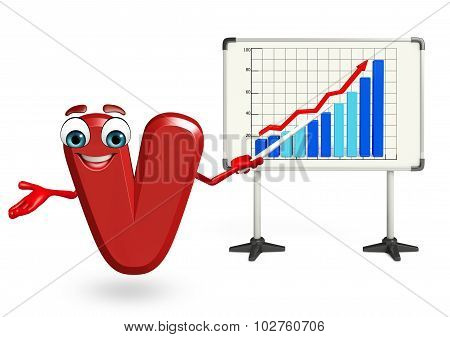 Cartoon Character Of V With Business Graph