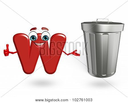 Cartoon Character Of Alphabet W With Dustbin