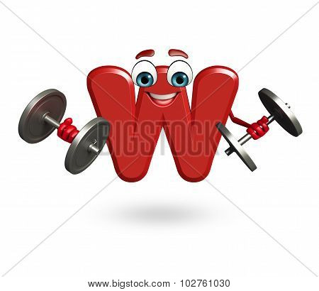 Cartoon Character Of Alphabet W With Weights