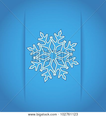 Template frame design with christmas snowflake - vector