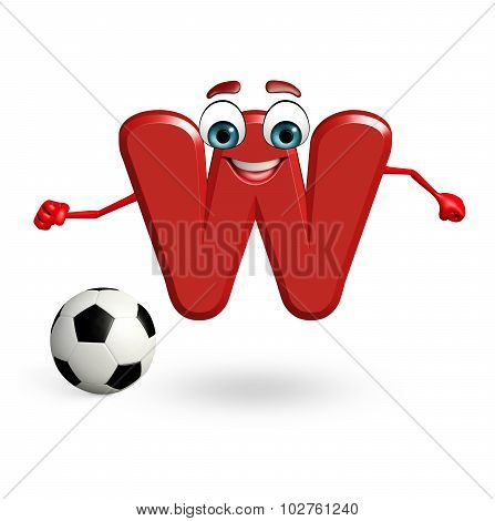 Cartoon Character Of Alphabet W With Football