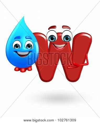 Cartoon Character Of Alphabet W With Water Drop