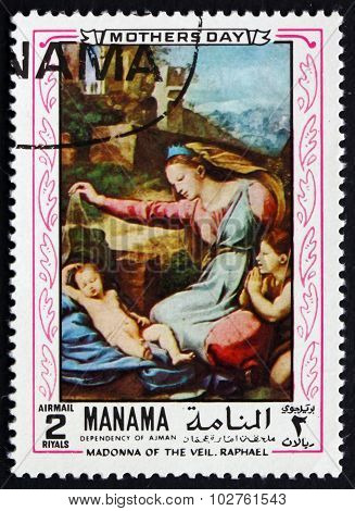 Postage Stamp Manama 1970 Madonna Of The Veil, By Raphael