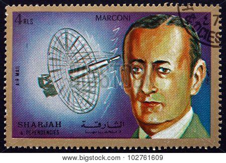 Postage Stamp Sharjah 1972 Guglielmo Marconi, Italian Inventor