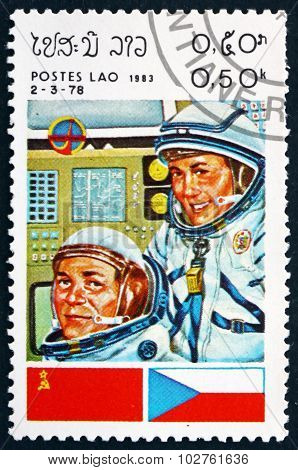 Postage Stamp Laos 1983 Cosmonauts And Flags Of Ussr And Czechos