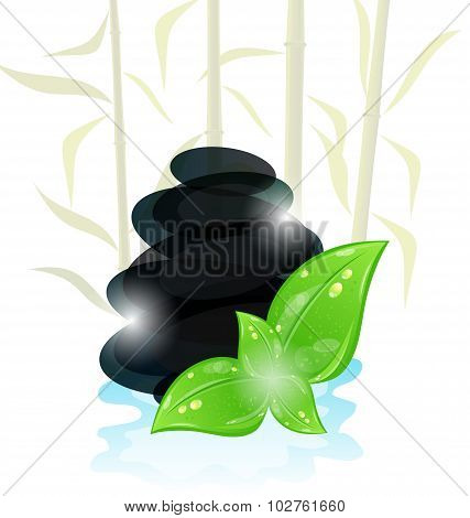Meditative oriental background with cairn stones and eco green l