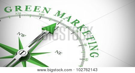 Arrow of a compass pointing to Green Marketing for Sustainability (3D Rendering)