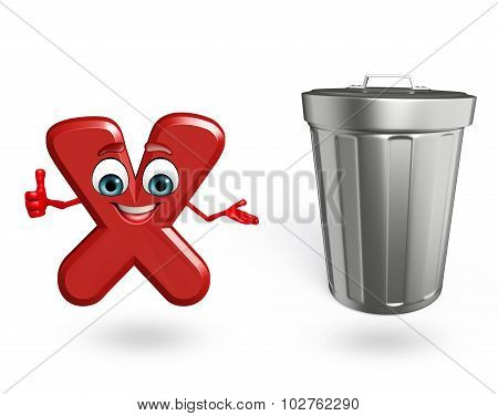 Cartoon Character Of Alphabet X With Dustbin