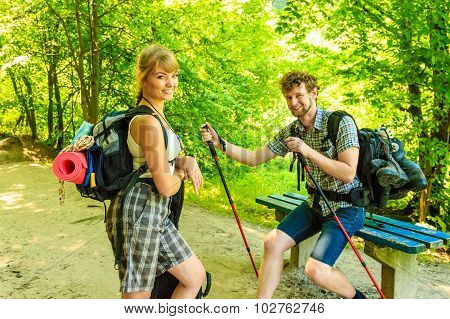 Hiking Young Couple With Guitar Backpack Outdoor
