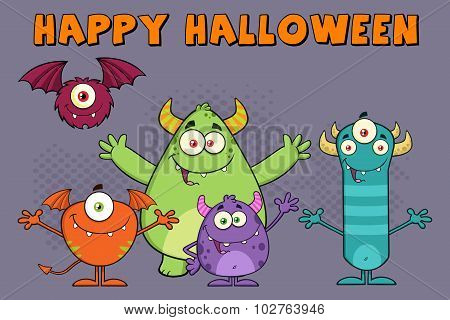 Monsters Cartoon Characters. Illustration Greeting Card