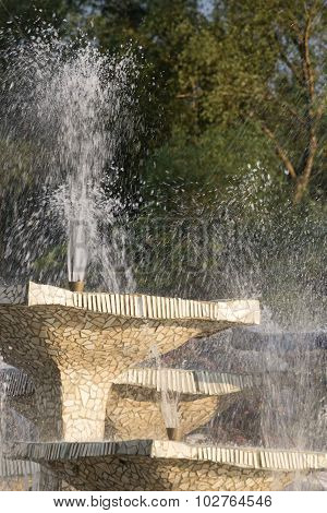 Stone fountain with water