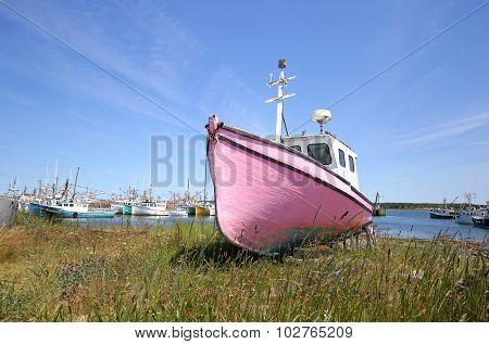 Abandoned Fishing Boat Sitting on Shore - Newfoundland, Canada