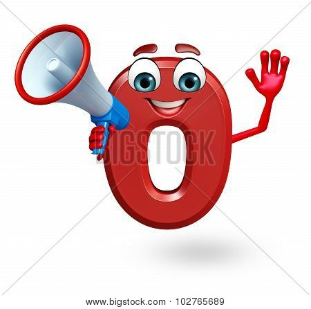 Cartoon Character Of Zero Digit With Loudspeaker