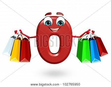 Cartoon Character Of Zero Digit With Shopping Bags