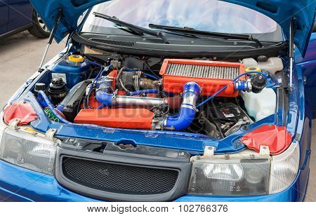 Tuned Turbo Car Engine Of Lada Closeup
