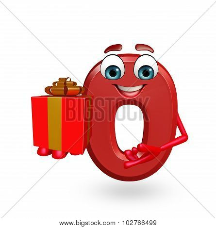 Cartoon Character Of Zero Digit With Gift Box