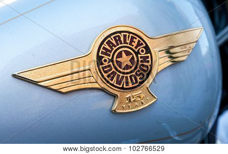 The Emblem On The Fuel Tank Of A Motorcycle Harley Davidson Close-up
