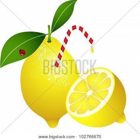 Lemon with Straw