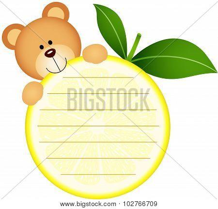 Label with teddy bear eating lemon