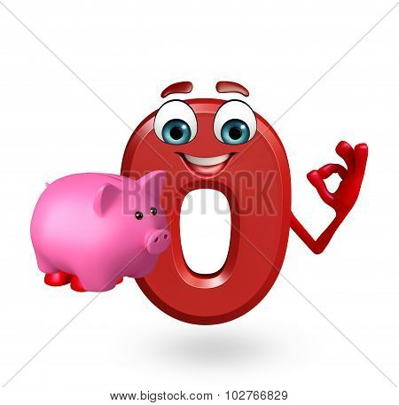 Cartoon Character Of Zero Digit With Piggy Bank