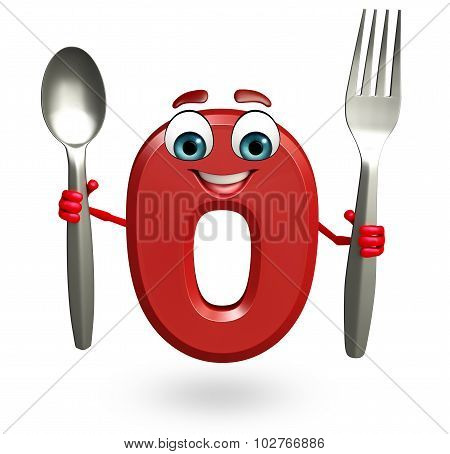 Cartoon Character Of Zero Digit With Spoon