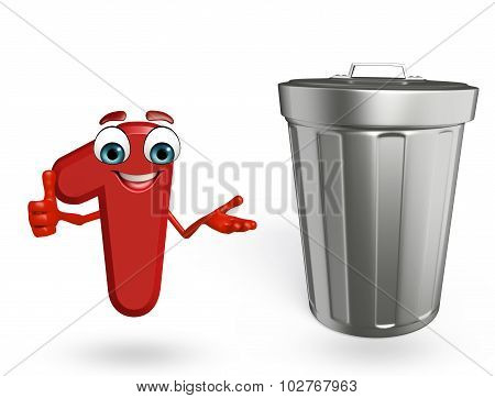 Cartoon Character Of One Digit With Dust Bin