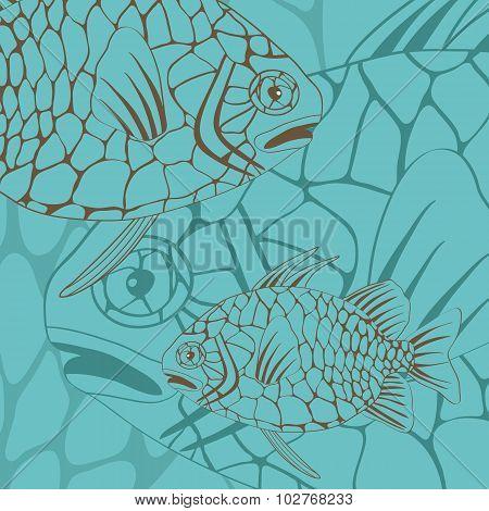 Illustration of exotic pine cone fish
